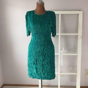 Laurence Kazar vintage green sequin silk dress